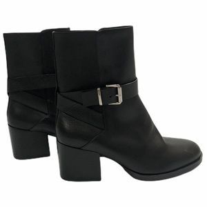COS Black Leather Strap Ankle Boots